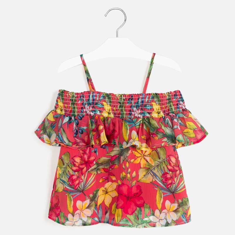 Cold Shoulder Blouse in Watermelon  - Doodlebug's Children's Boutique