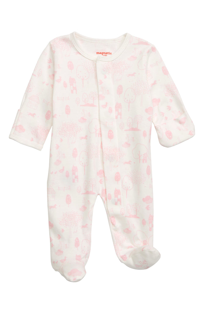 Pink Perfect Day Organic Cotton Magnetic Footie  - Doodlebug's Children's Boutique