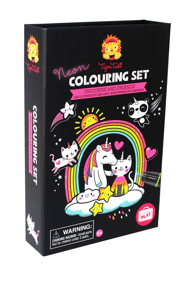 Tiger Tribe Neon Colouring Set Unicorns and Friends  - Doodlebug's Children's Boutique