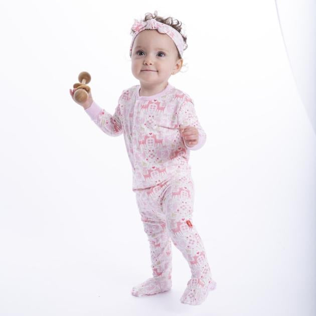 Flora and Fawna Magnetic Modal Footie  - Doodlebug's Children's Boutique