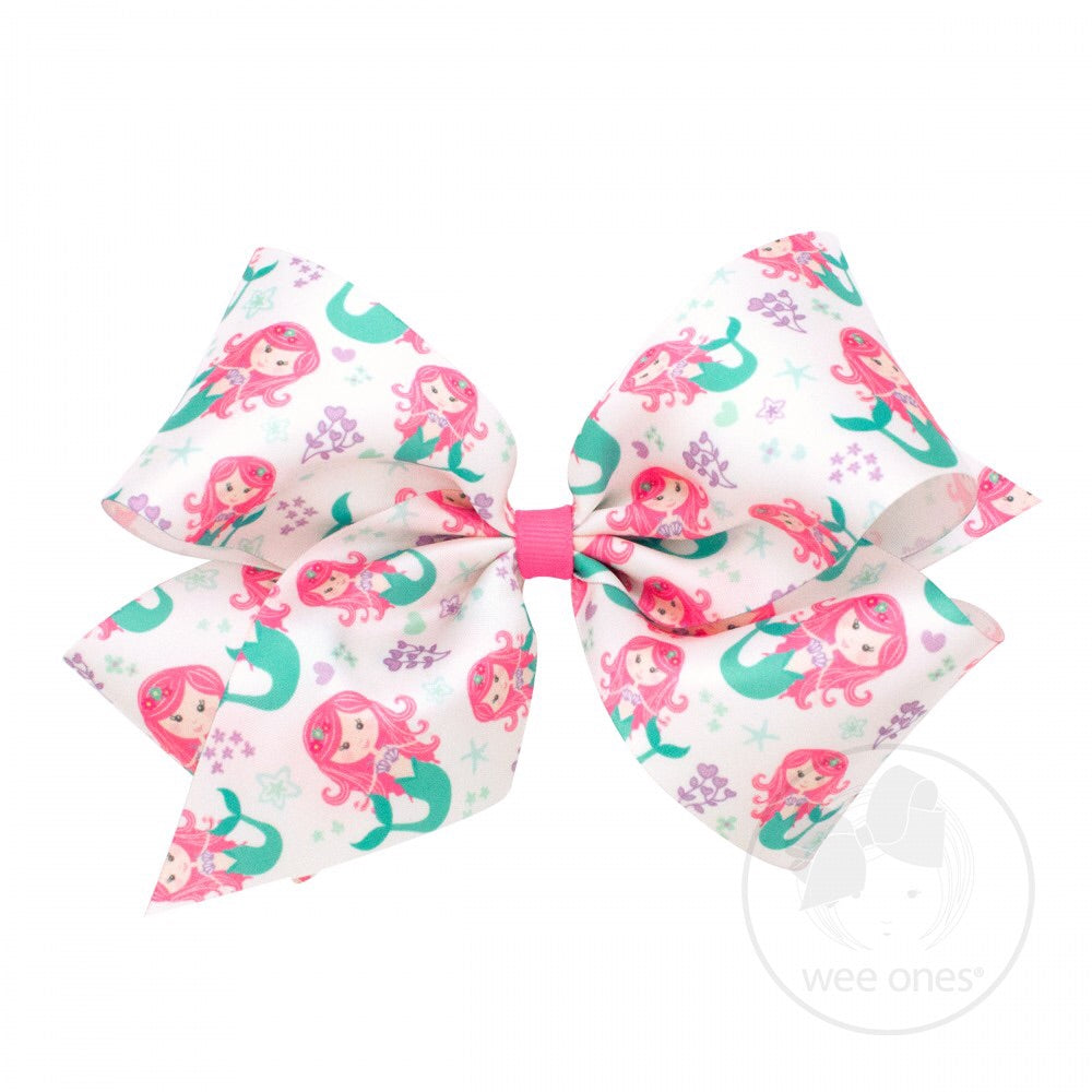 Wee Ones Print Bows Mermaid (Satin Ribbon) - Doodlebug's Children's Boutique