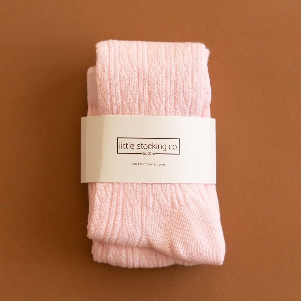 Cable Knit Tights in Light Pink 0-6 Month - Doodlebug's Children's Boutique