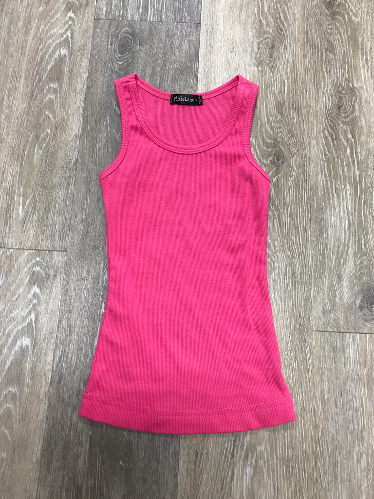 Hot Pink Rib Knit Tank Hot Pink / 4 - Doodlebug's Children's Boutique