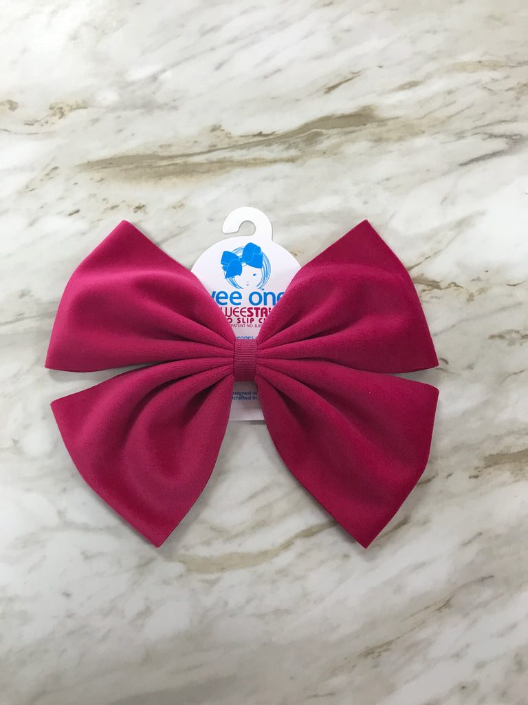 Pink Faux Velvet Bow Pink - Doodlebug's Children's Boutique