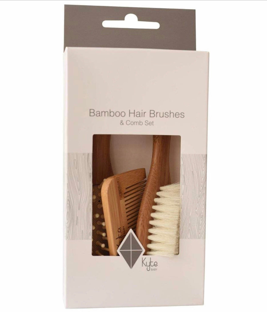 Bamboo Hair Brushes and Comb Set  - Doodlebug's Children's Boutique