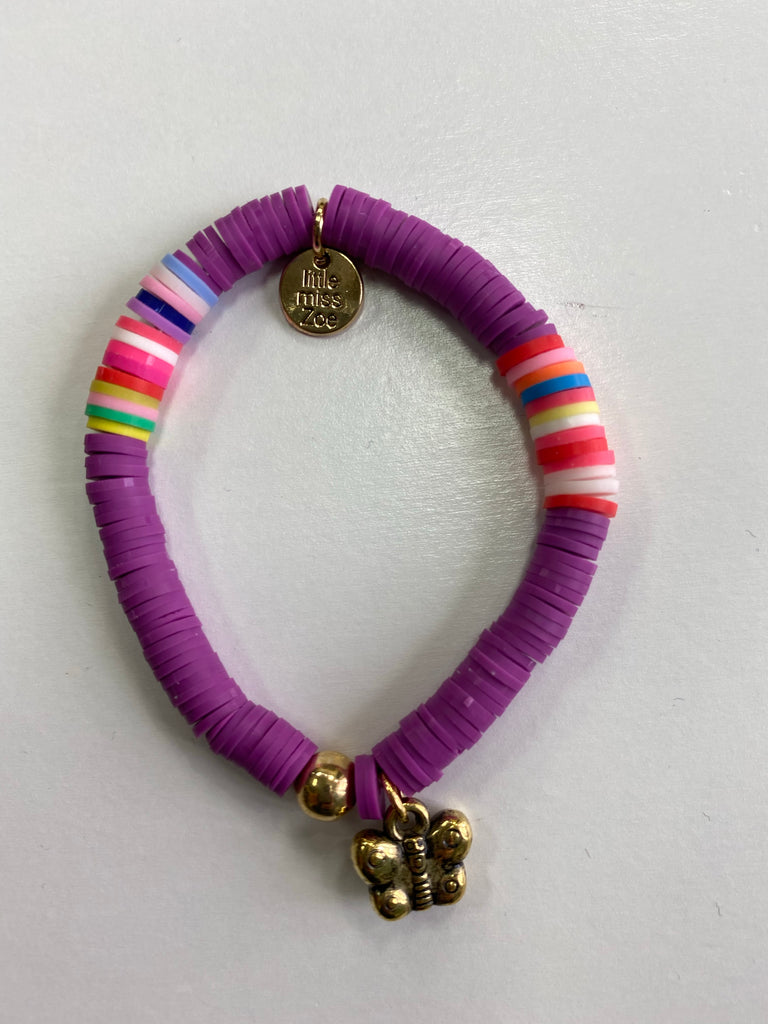 Bracelet with Gold Charm Purple with Butterfly Charm - Doodlebug's Children's Boutique