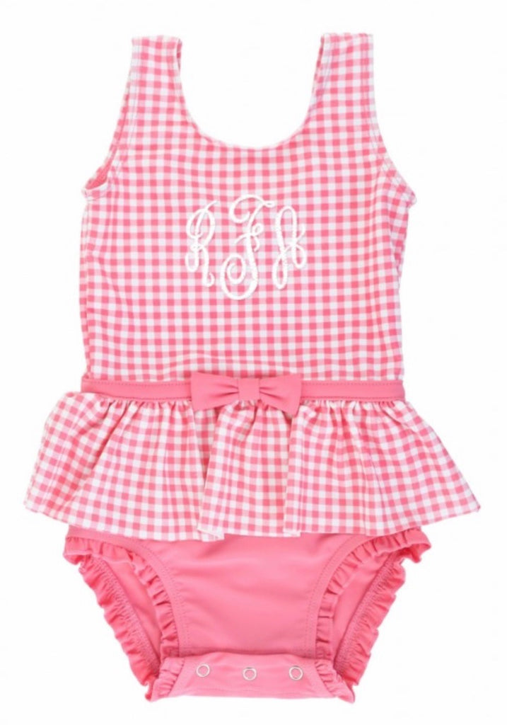 Rose Gingham Skirted One-Piece  - Doodlebug's Children's Boutique