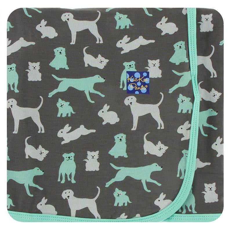 Print Swaddling Blanket in Stone Domestic Animals  - Doodlebug's Children's Boutique