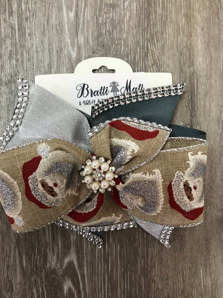 Bratti Mati Hair Large Embellished Hair Bow Santa - Doodlebug's Children's Boutique