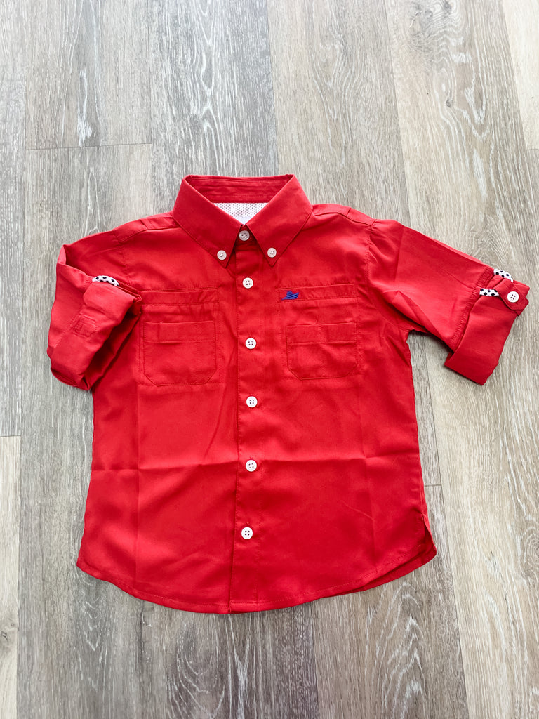 Red Fishing Shirt  - Doodlebug's Children's Boutique