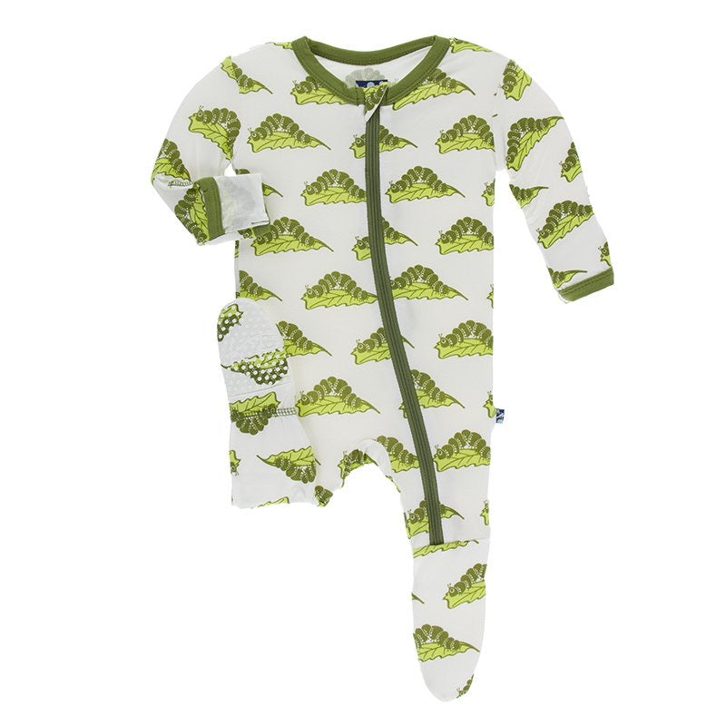 Print Footie with Zipper in Natural Caterpillar  - Doodlebug's Children's Boutique