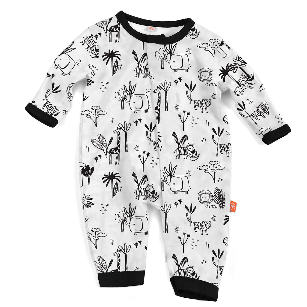 Animal Safari Modal Magnetic Coverall  - Doodlebug's Children's Boutique