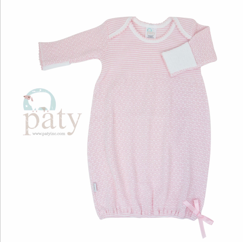 Pink Stripe Gown Preemie - Doodlebug's Children's Boutique