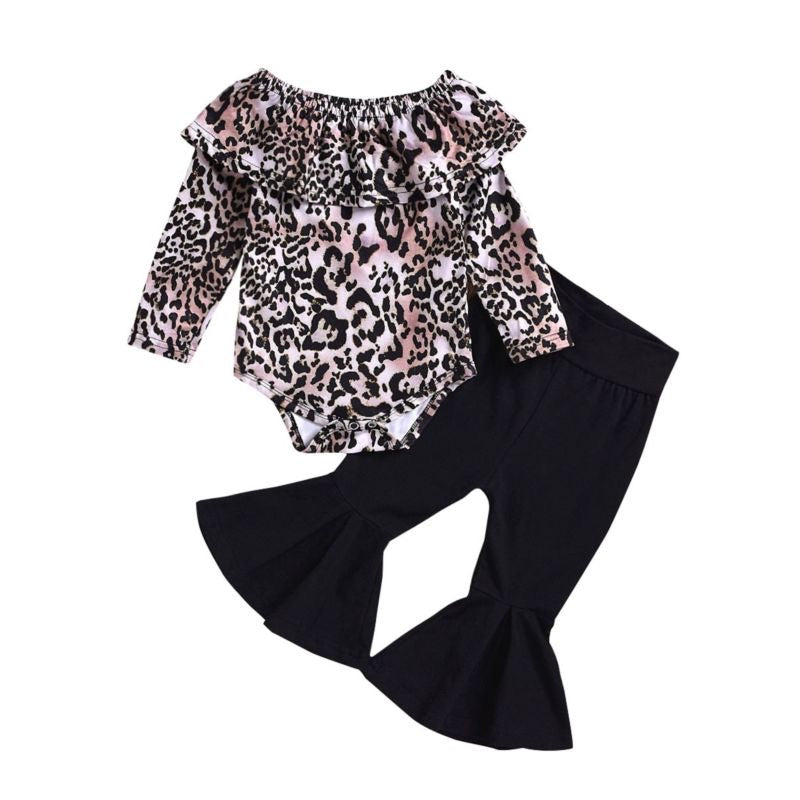 Lenny and Beck Leopard Top/Black Bell Bottoms