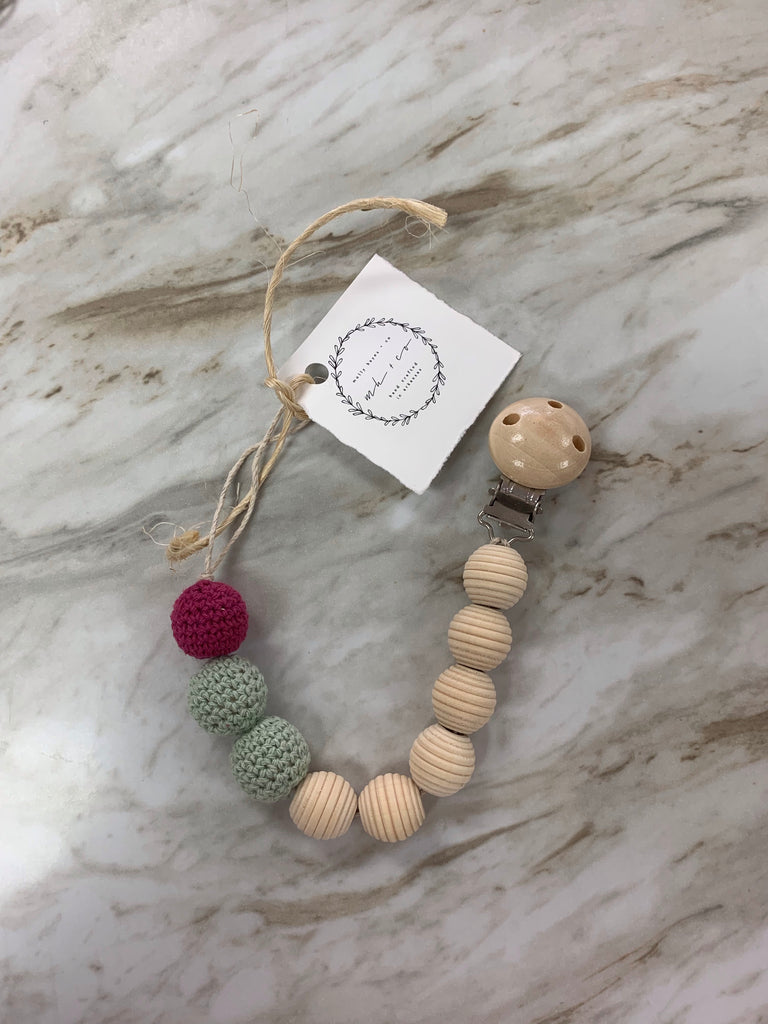 Molly Hayes & Co. Teething Bead Pacifier Clip Blue and Purple Crochet - Doodlebug's Children's Boutique