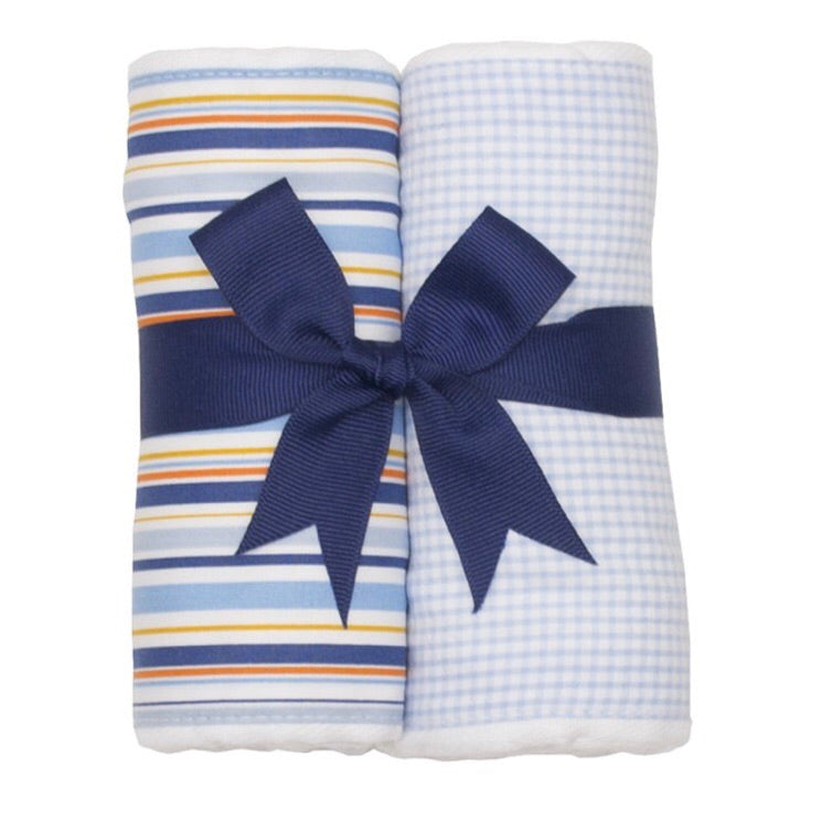 Little Truck and Blue Gingham 2 Pack Burp Pad Set Little Truck and Blue Gingham - Doodlebug's Children's Boutique