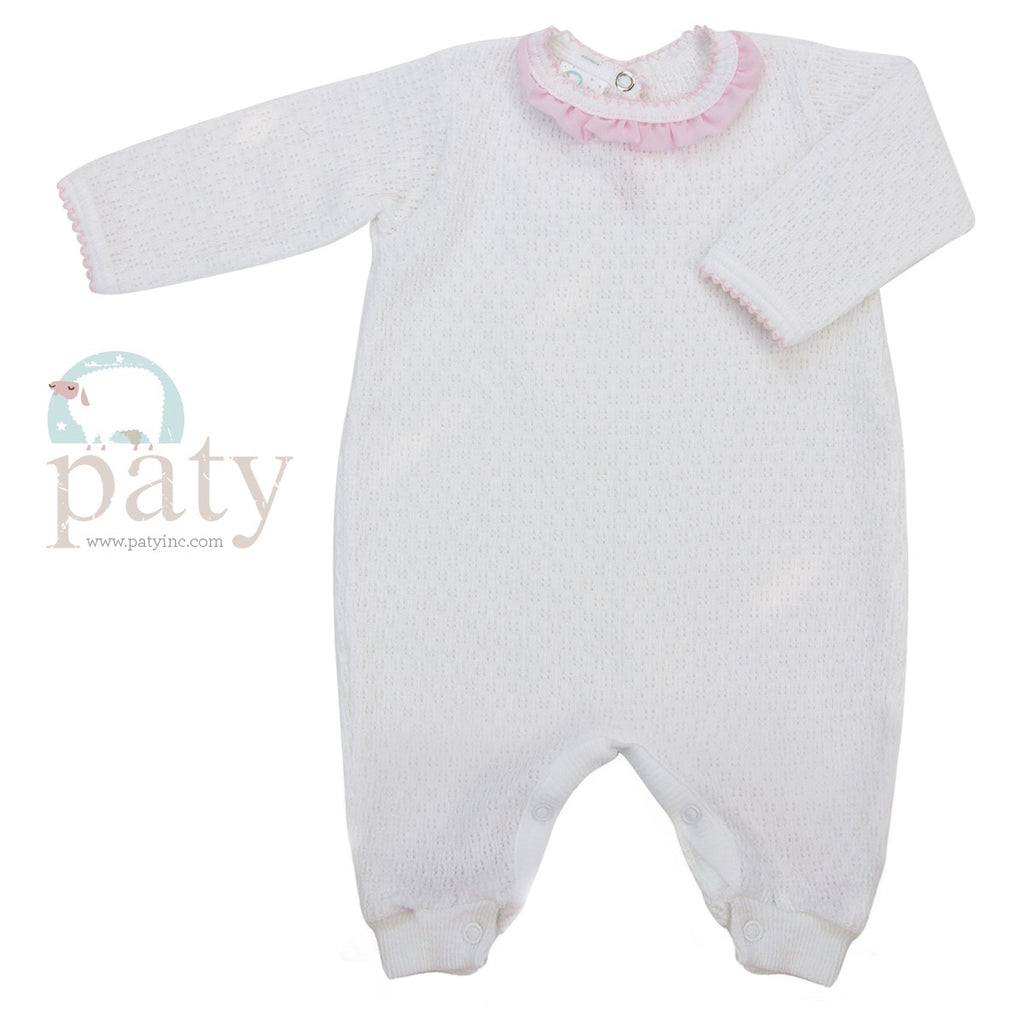 White Romper with Pink Chiffon Preemie - Doodlebug's Children's Boutique