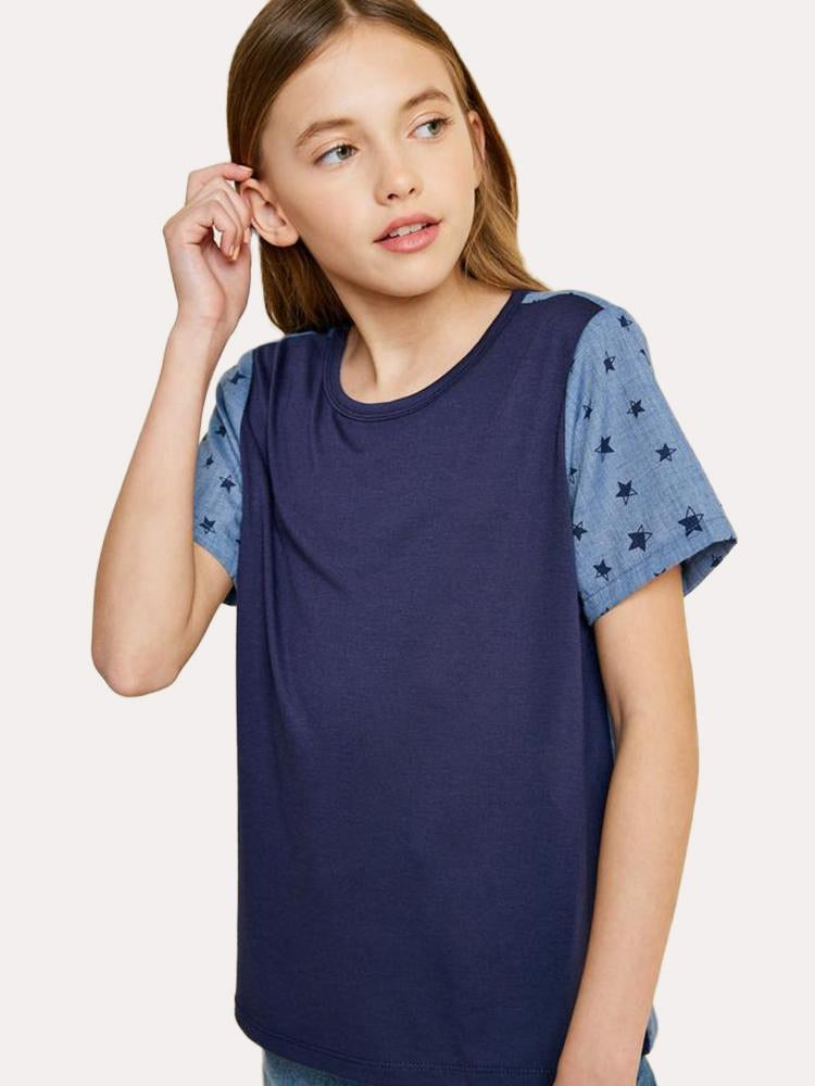 Contrast Star Tee Shirt  - Doodlebug's Children's Boutique