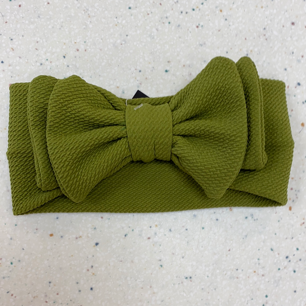 Knit Headband Bow in Olive  - Doodlebug's Children's Boutique