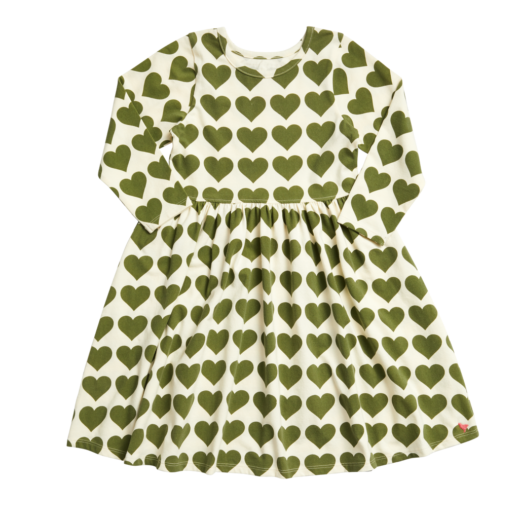 Organic Steph Dress in Capulet Olive Hearts  - Doodlebug's Children's Boutique