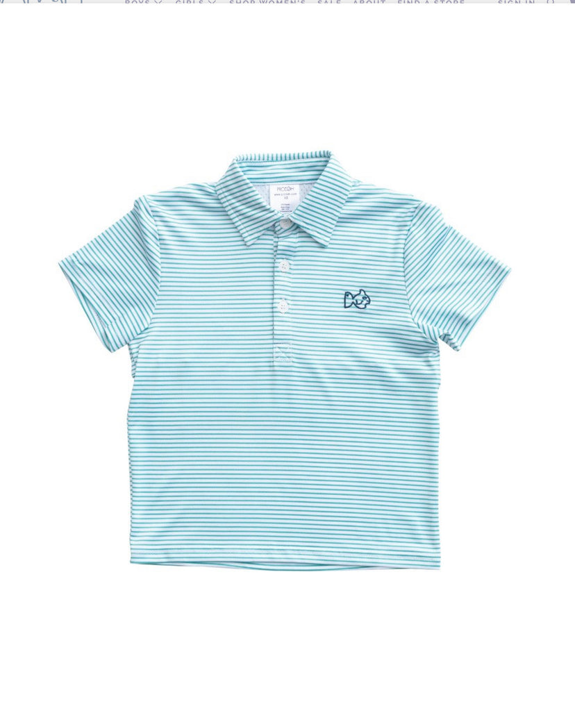 Performance Polo in Lagoon Stripe  - Doodlebug's Children's Boutique