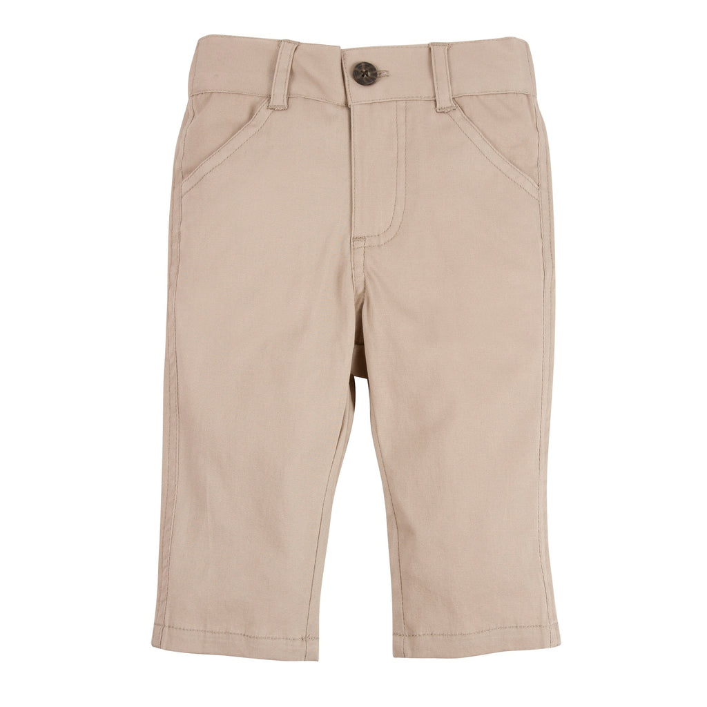 Khaki Twill Pant 12-18m - Doodlebug's Children's Boutique