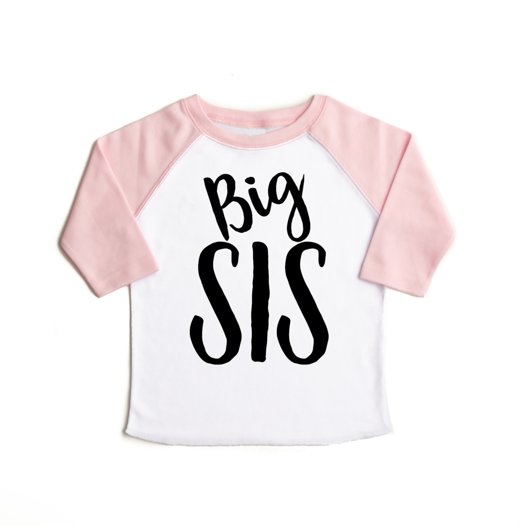 Big Sis Pink Raglan Shirt  - Doodlebug's Children's Boutique