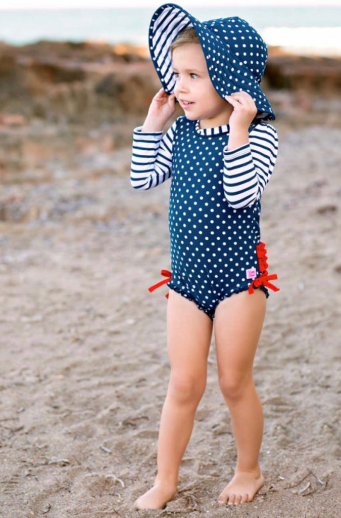 Ruffle Butts Navy Polka Dot One Piece Swimsuit
