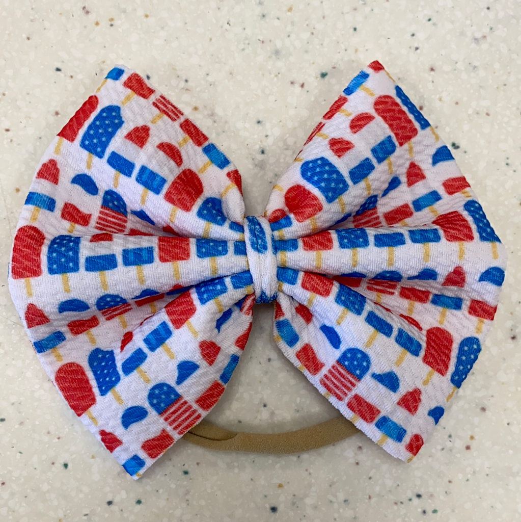 Red White Blue Popsicles Bow on Nylon