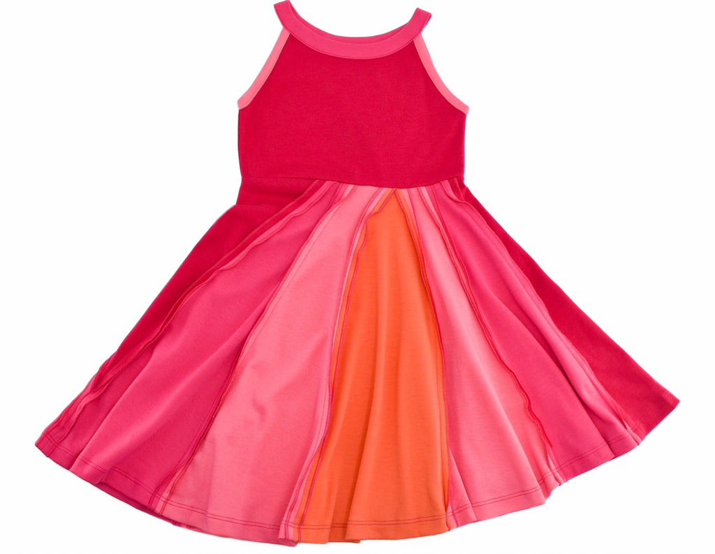 Ocean and Sky Dress in Pink  - Doodlebug's Children's Boutique