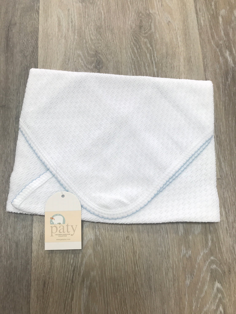 White Swaddle Blanket with Blue Trim  - Doodlebug's Children's Boutique