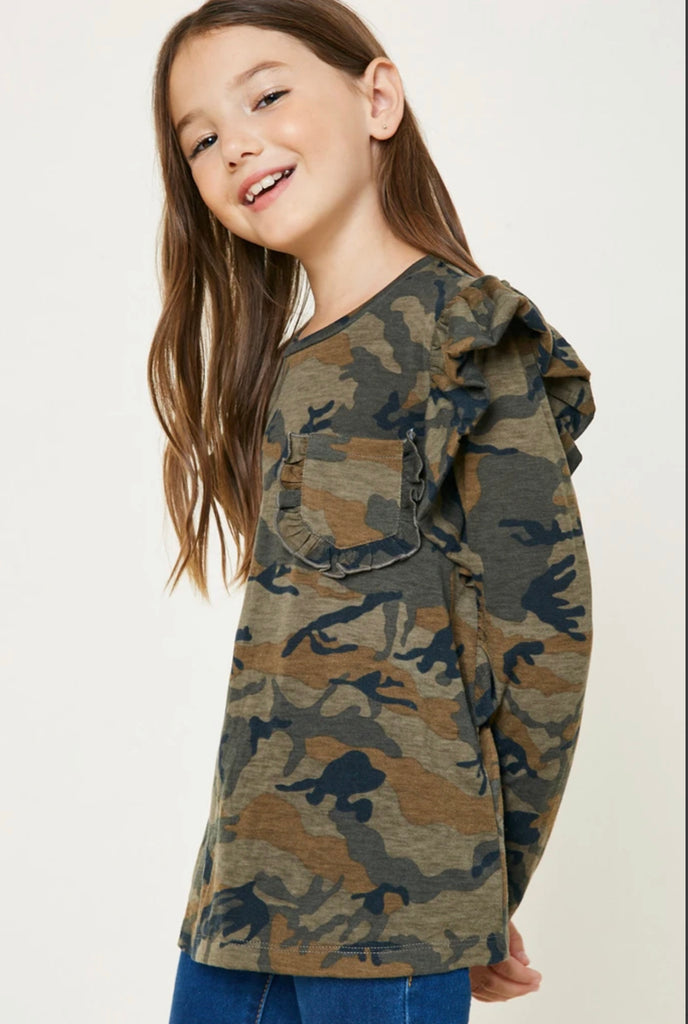 Camo Ruffle Long Sleeve Top  - Doodlebug's Children's Boutique