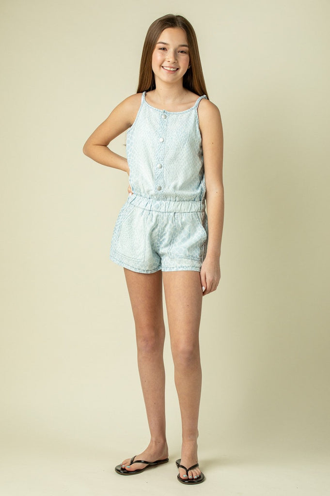 Snakeskin Tencel Romper  - Doodlebug's Children's Boutique