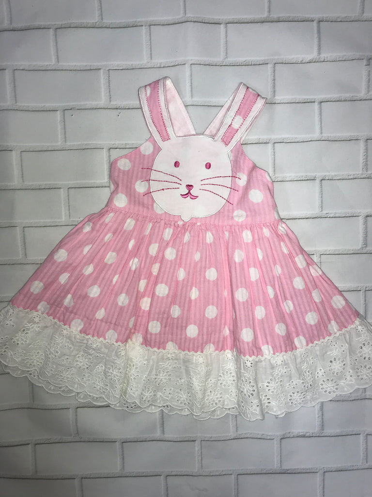 Cotton Kids Pink Polka Dot Bunny Dress