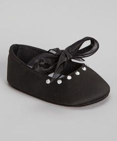 Black Rhinestone Slippers with Satin Tie  - Doodlebug's Children's Boutique