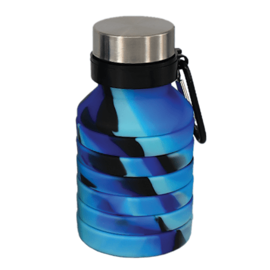 Blue and Black Collapsible Water Bottle  - Doodlebug's Children's Boutique