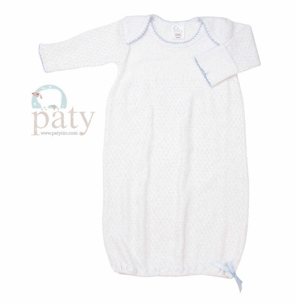 White Gown with Blue Trim Preemie - Doodlebug's Children's Boutique