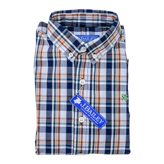 J. Bailey Roscoe Long Sleeve Button Down Shirt Birch Plaid / 2T - Doodlebug's Children's Boutique