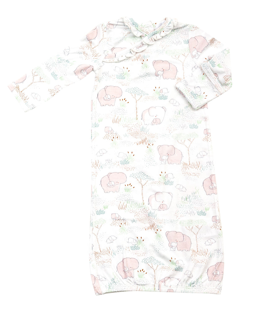 Pink Elephant Gown Gown (0-3 months) - Doodlebug's Children's Boutique