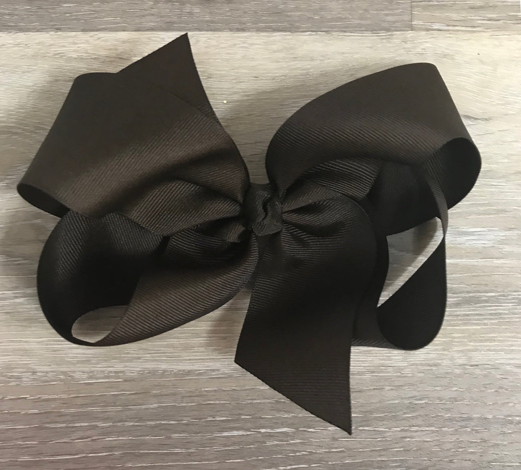 Large Solid Hair Bow in Brown Brown - Doodlebug's Children's Boutique