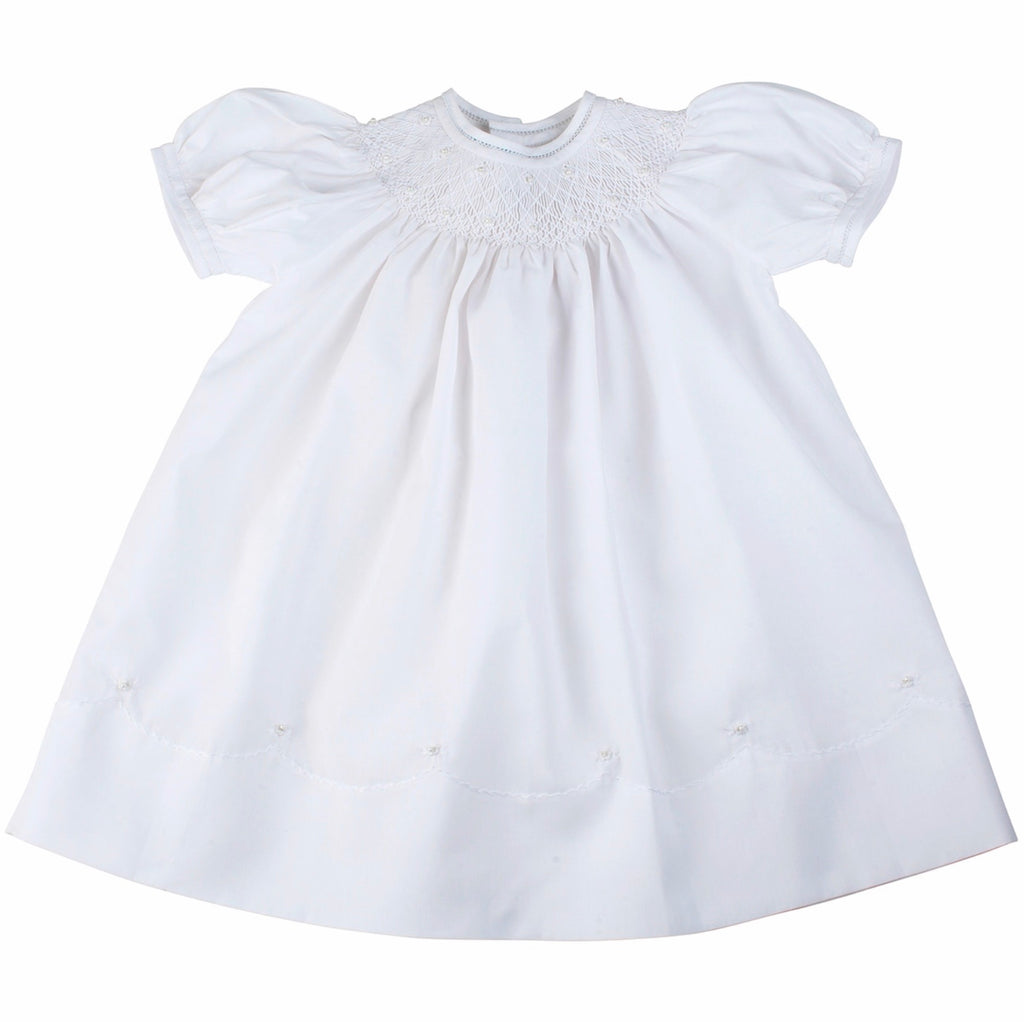 Pearl Flower Bishop Dress White / 3 months - Doodlebug's Children's Boutique