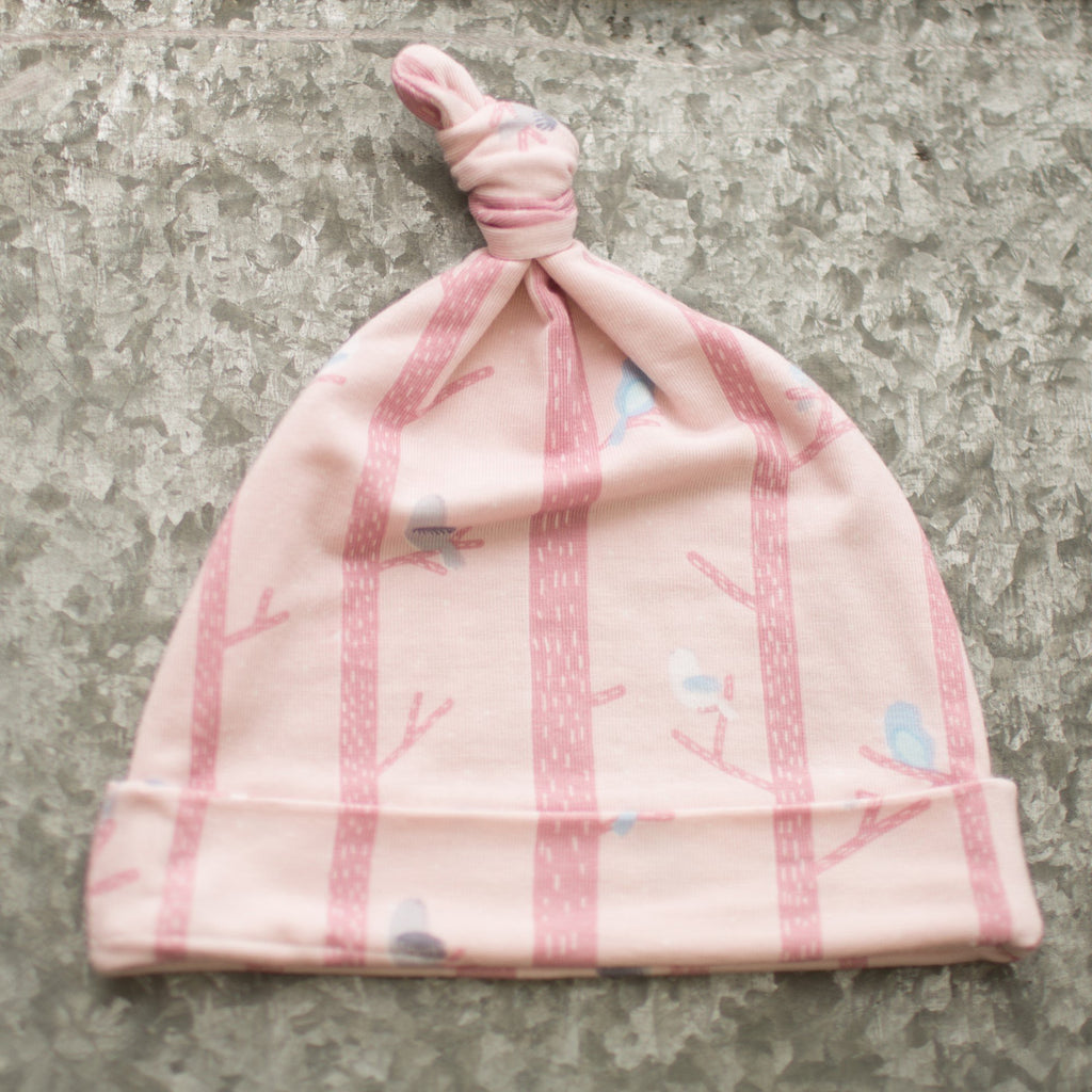 Pink Tree Birds Beanie Knot Hat Tree Birds Pink - Doodlebug's Children's Boutique
