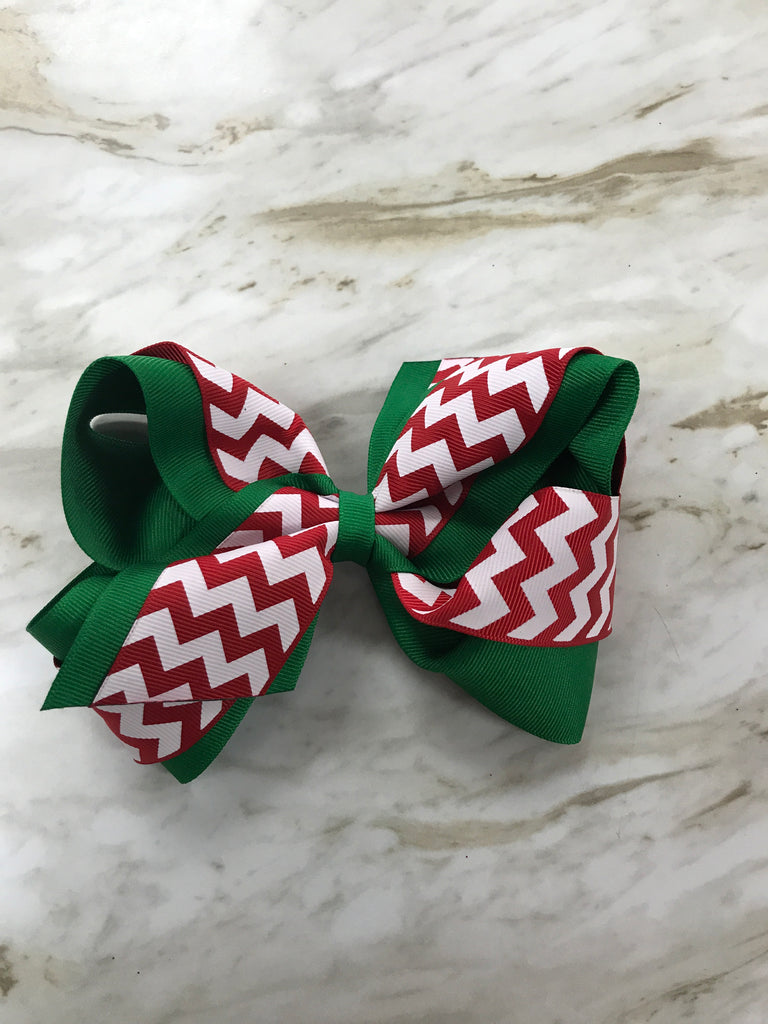 Christmas Chevron Large Bow Christmas Chevron - Doodlebug's Children's Boutique