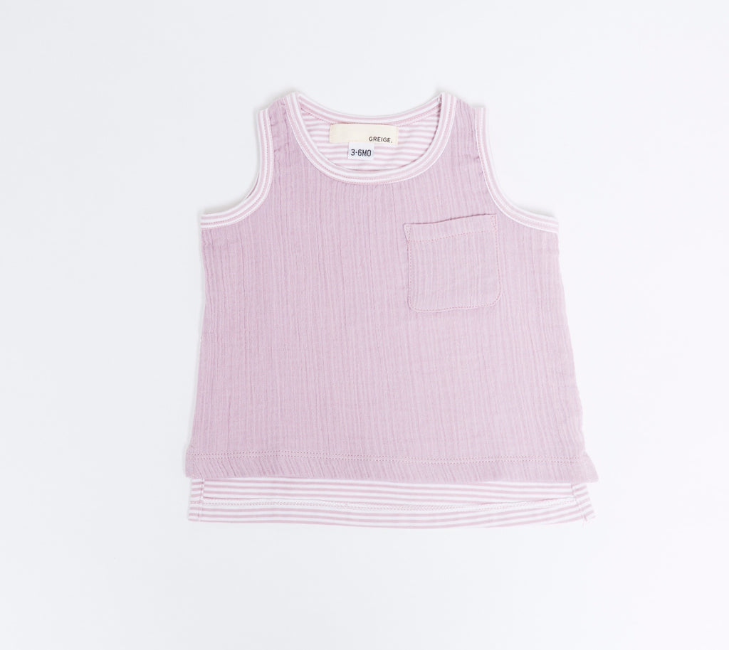 Greige Pink Cloud Stripe Remix Tank  - Doodlebug's Children's Boutique
