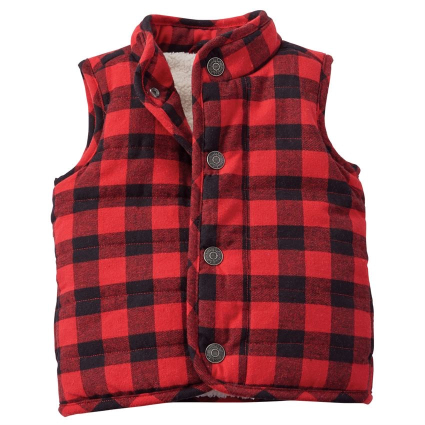Mud Pie Red Buffalo Check Vest