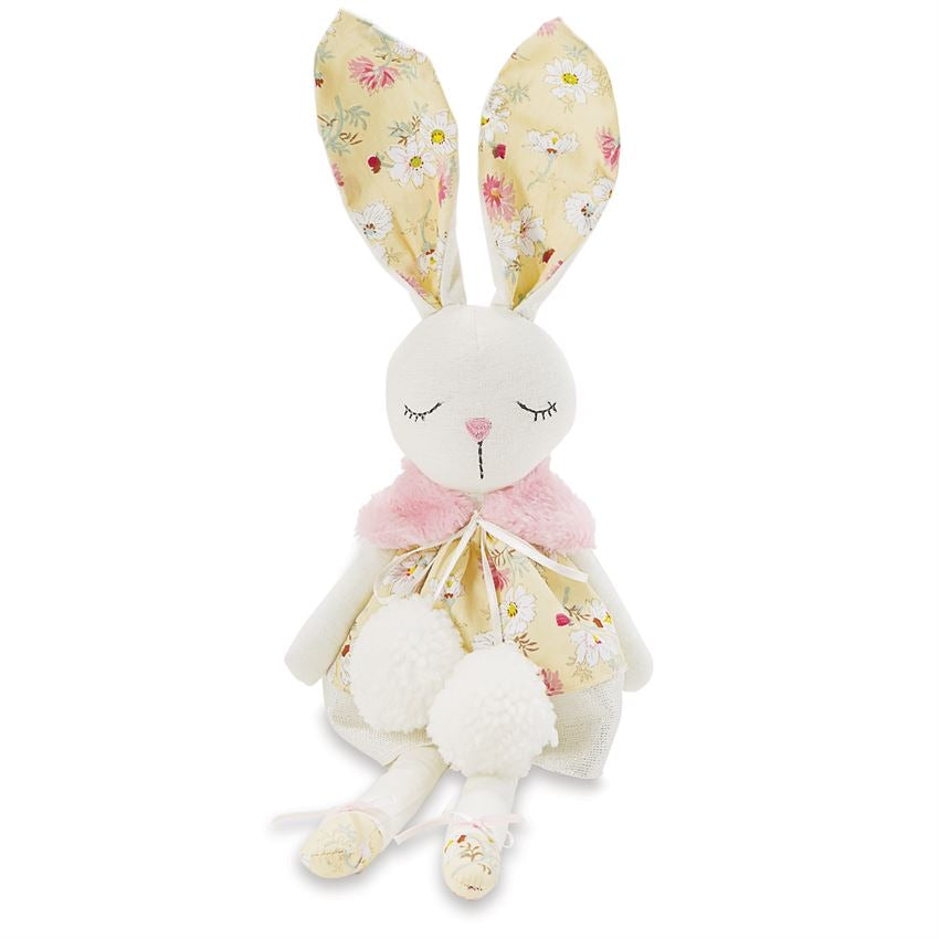 Linen Yellow Floral Yellow Bunny Doll  - Doodlebug's Children's Boutique