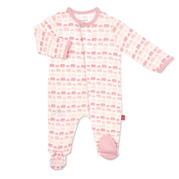 Pink Dancing Elephants Magnetic Modal Footie Pink Dancing Elephants / Preemie - Doodlebug's Children's Boutique