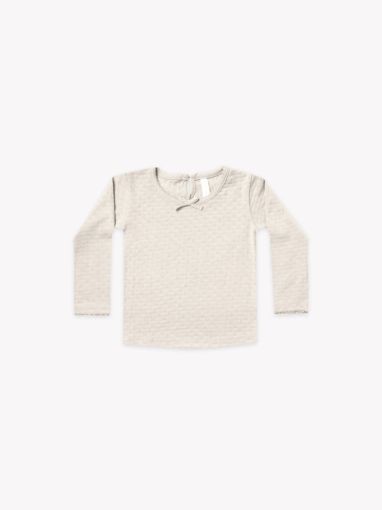 Pointelle Long Sleeve Tee in Pebble  - Doodlebug's Children's Boutique