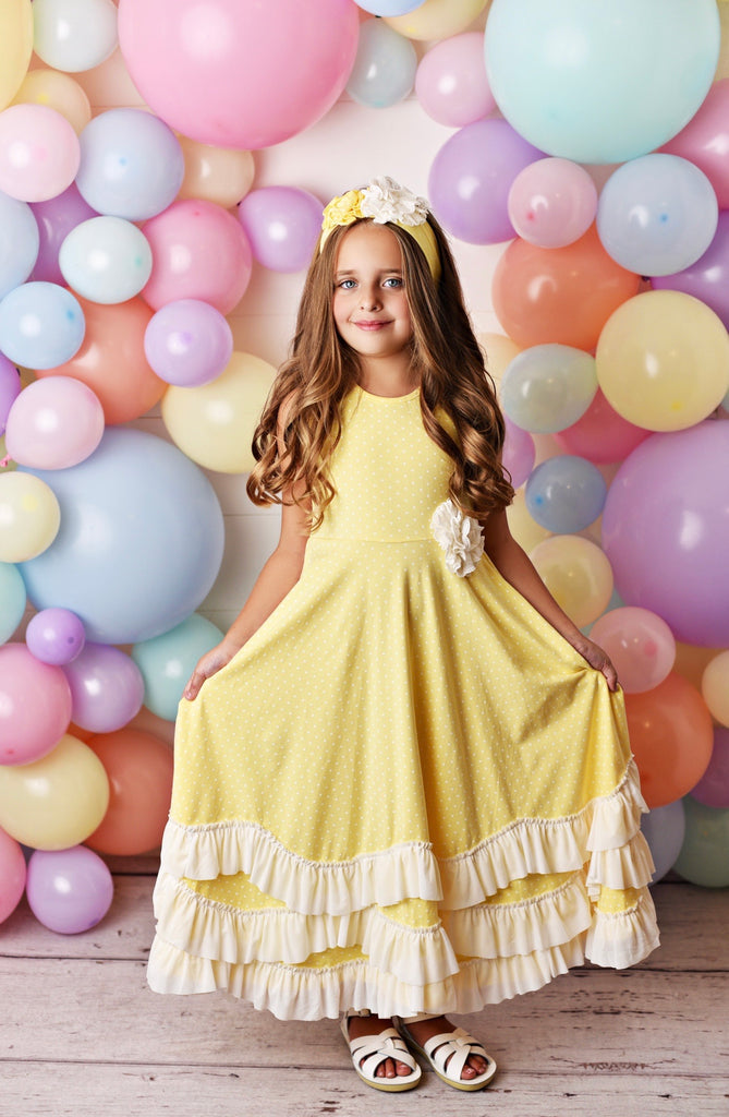 Yellow and White Dot Maxi Twirl Dress  - Doodlebug's Children's Boutique