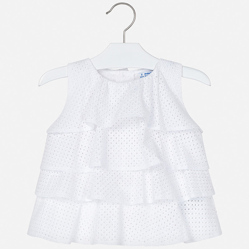 White Ruffle Top  - Doodlebug's Children's Boutique